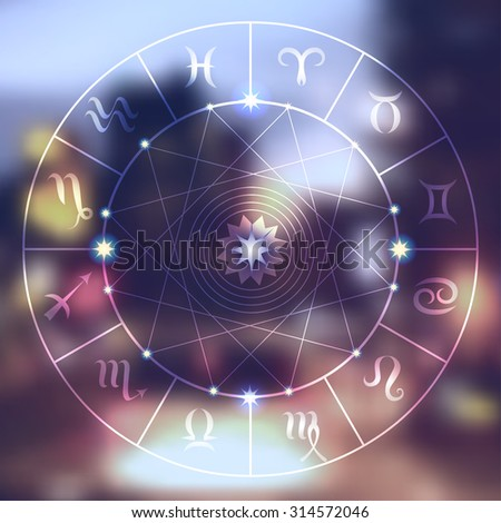 Magic circle with zodiacs sign on blurred photo of city. - stock vector