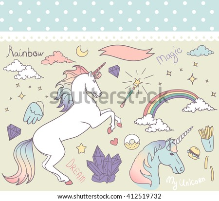 Magic collection with unicorn, rainbow, stars and crystals