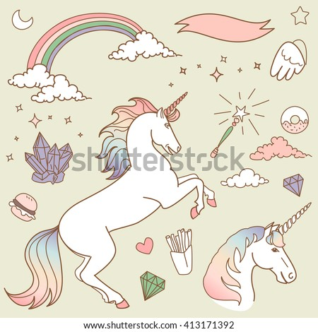Magic collection with unicorn, rainbow, stars and crystals - stock vector