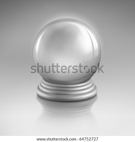Magic crystal ball of glass and silver. Empty snow globe. Vector - stock vector