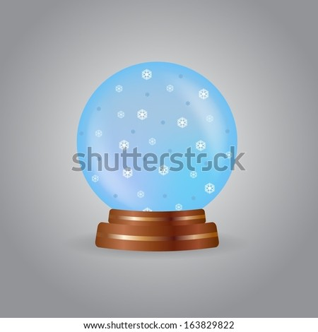 Magic crystal ball with snowflakes