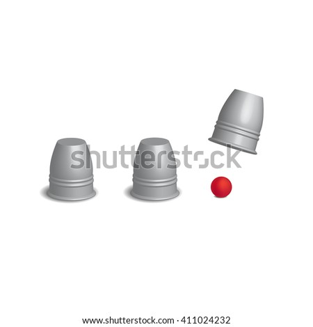 Magic cups game with red ball set in open action, 3d Vector illustration.