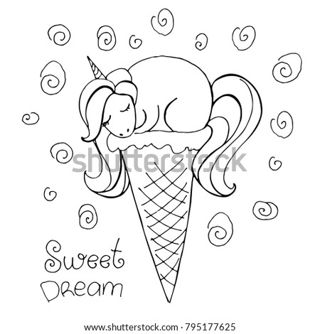 Magic Cute Unicorn Glass Ice Cream Stock Vector (Royalty ...