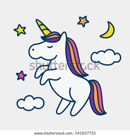Great Magic Cute Unicorn, Stars, Clouds And Moon Poster, Greeting Card, Vector  Illustration