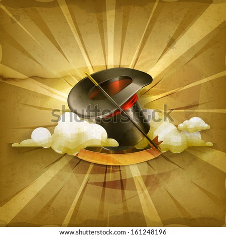 Magic cylinder hat, old style vector background - stock vector