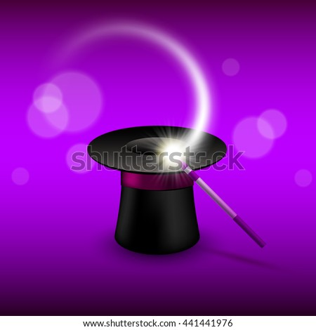 Magic cylinder hat with magic wand. Magic show performance design vector illustration - stock vector