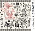 magic doodle set, hand drawn design elements - stock vector