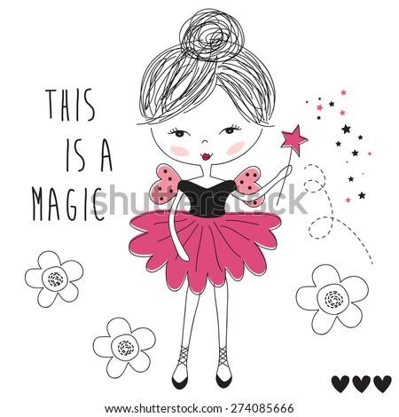 magic fairy girl vector illustration - stock vector