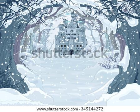 Magic Fairy Tale Winter Princess Castle - stock vector