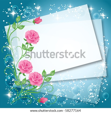 Magic floral background with stars and a place for text or photo. - stock vector