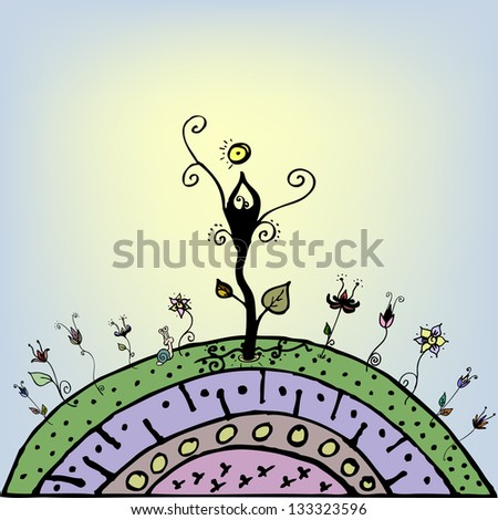 Magic Flower Hill with Tree of Life - stock vector