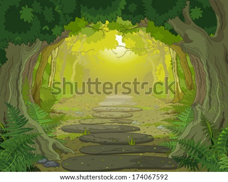 Magic forest landscape with trees and ferns - stock vector