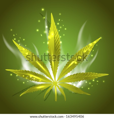 Magic ganja leaf for your design, vector illustration, eps10, 4 layers. Glad to see you in my portfolio and have a nice day=) - stock vector