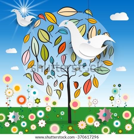 Magic Garden with Abstract Tree - Colorful Flowers - Paper Bird and Blue Sky with Clouds Vector Illustration - stock vector