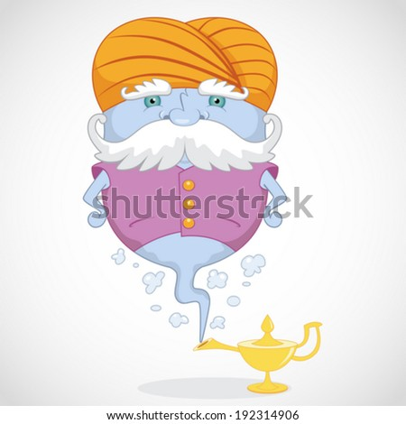 Magic Genie appear from magic lamp - stock vector