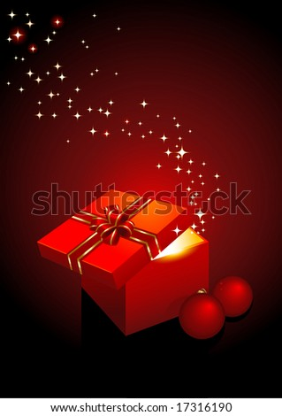 magic gift-box - vector holiday background - stock vector