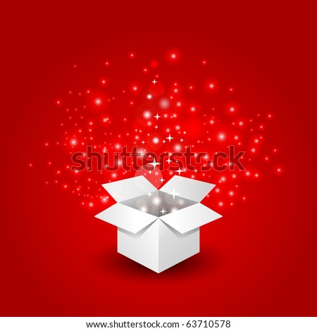 Magic gift box with a big surprise - stock vector