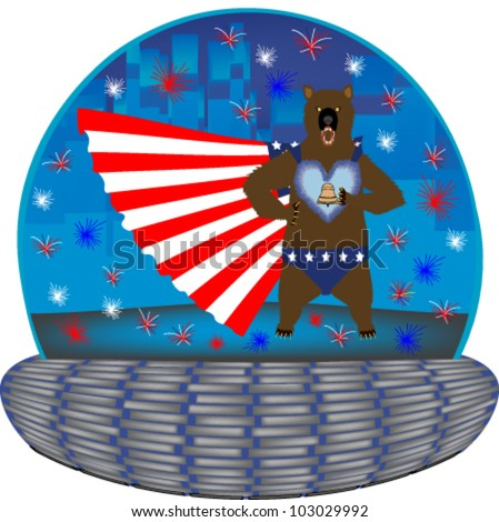 Magic globe with a super hero grizzly wearing a flag cape and a liberty bell emblem - stock vector