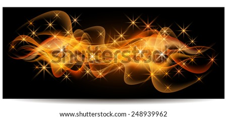 Magic glowing background with neon smoke, shining stars - stock vector