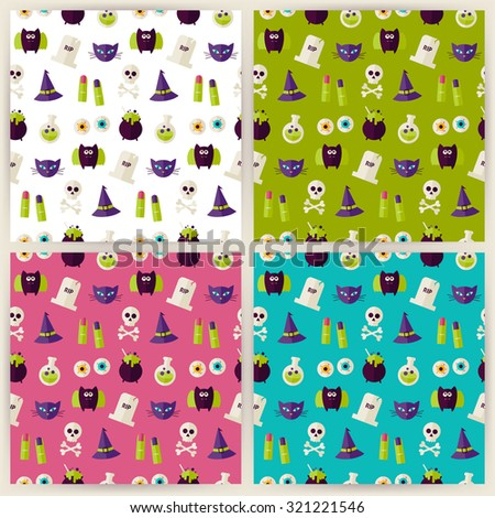 Magic Halloween Witch Seamless Pattern Set. Flat Style Vector Seamless Texture Backgrounds. Collection of Halloween Party Holiday Templates. Trick or Treat - stock vector