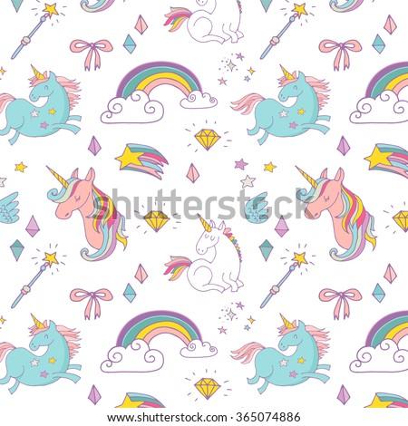 Magic hand drawn pattern - unicorn, rainbow and fairy wings - stock vector