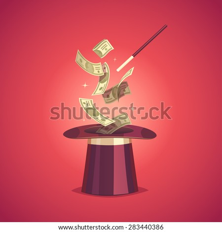 Magic hat and money. Isolated object \ background. - stock vector