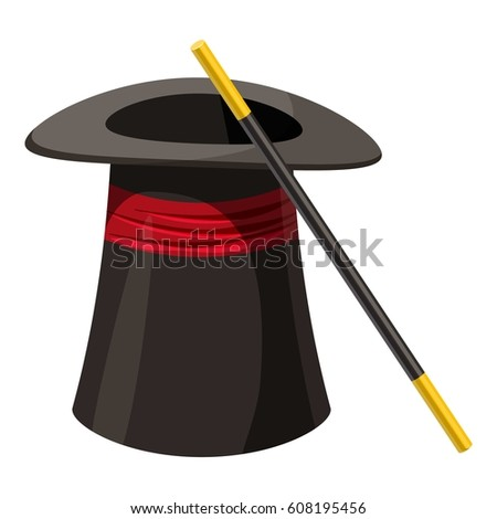 Magic hat and wand icon. Cartoon illustration of magic hat and wand vector icon for web
