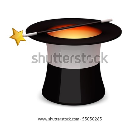Magic hat with a wand - stock vector