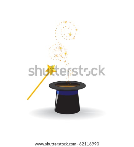 Magic hat with magic wand - stock vector