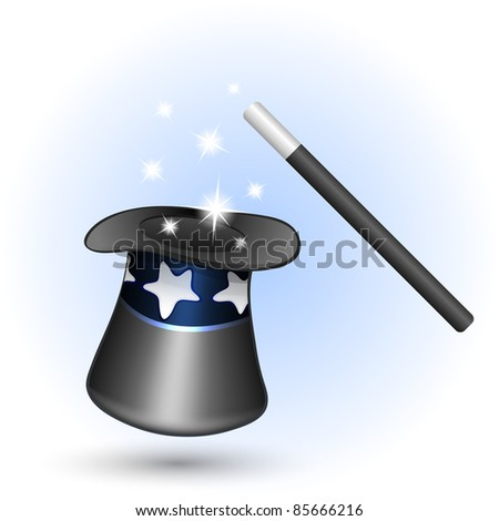 Magic hat with magic wand. Vector illustration