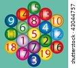 Magic Hexagon - amount of any straight path is 38 - stock vector