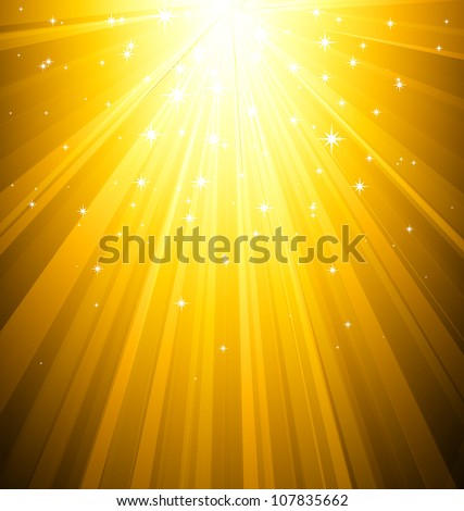 Magic light background. Gold burst and star - stock vector