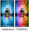 MAgic Lights Disco Flyer with DJ shape and a lot of stars - stock vector