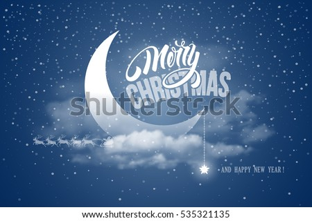 Magic merry christmas happy new year stock vector hd royalty free magic merry christmas and happy new year night for greeting card half moon in clouds m4hsunfo Images