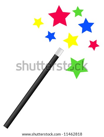 magic or magician's wand with bright stars - vector - stock vector