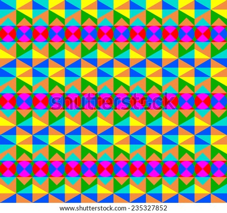 Magic Pattern, made of 4 basic shapes: an isometric triangle, a square, a romb, a circle and colored with 7 basic high contrast colors: Yellow, Orange, Red, Purple, Blue, Aqua, Green. Multiple usage - stock vector