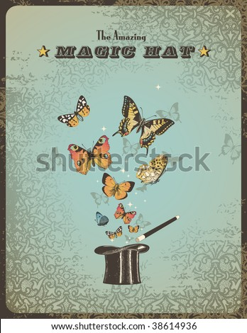 magic poster with hat, wand and butterflies - stock vector