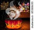 Magic pot on the fire - stock vector