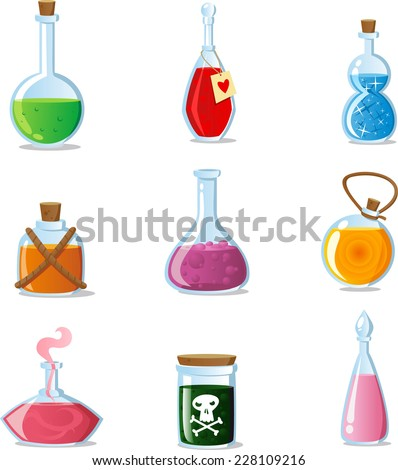 Magic potions set of magical tubes and bottles containers vector icon cartoons - stock vector