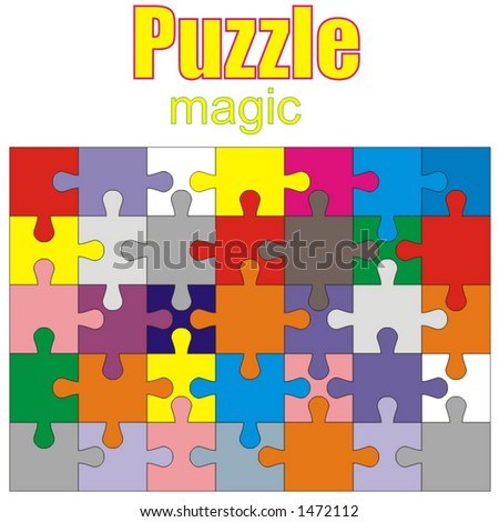 magic puzzle - interesting kids and adullt game, colorful, pictures made of small colored curved elements - vector art