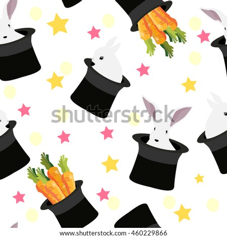 Magic rabbit in hat with carrot colorful seamless background