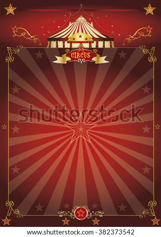 Magic red circus poster. A beautiful circus poster with sunbeams for your entertainment - stock vector
