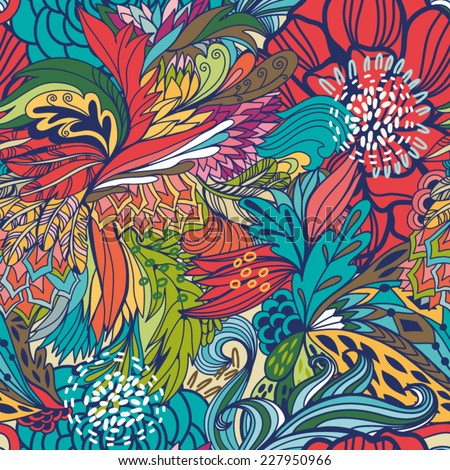 Magic seamless pattern of abstract flowers and feathers. Endless background. Ethnic seamless pattern. Vector backdrop. Summer template. Use for wallpaper,pattern fills, web page background. - stock vector