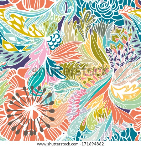 Magic seamless pattern with abstract flowers and feathers. Endless background. Ethnic seamless pattern. Vector backdrop. Summer template. Use for wallpaper,pattern fills, web page background. - stock vector