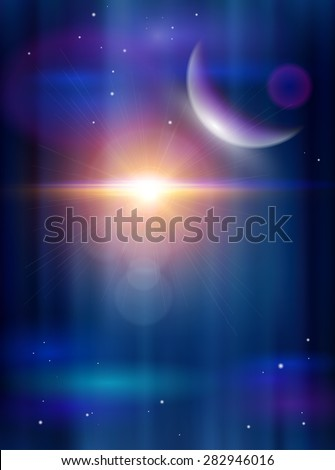 Magic Space - Big Star & Blue Planet, planets, stars and constellations, nebulae and galaxies, lights. Vector illustration / Eps10 - stock vector