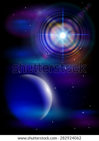 Magic Space - Big Star & Blue Planet, stars and constellations, nebulae and galaxies, lights. Vector illustration / Eps10 - stock vector