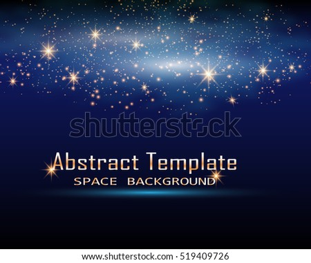 Magic Space. Fairy Dust. Infinity. Abstract Universe Background. Blue Background and Shining Stars. Vector illustration