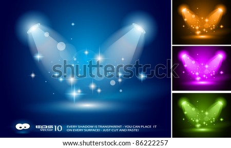 Magic Spotlights with Blue rays and glowing effect for people or product advertising. 3 other colours included. Every lights and shadow are transparent. - stock vector