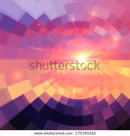 Magic sunset in abstract stained glass - stock vector