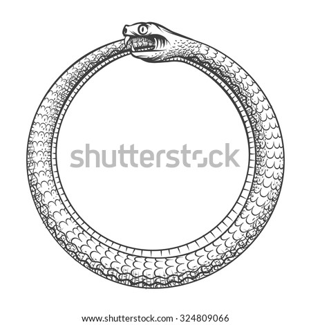 Magic symbol of Ouroboros. Tattoo with snake biting its own tail. Animal and infinity, mythology and serpent, vector illustration - stock vector